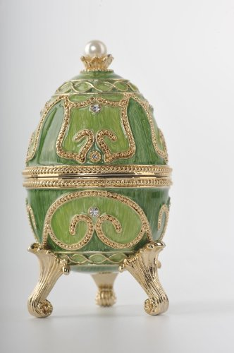 Keren Kopal Green Faberge Egg with Giraffe & Elephant, used for sale  Delivered anywhere in USA