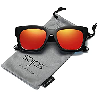 SojoS Schick Klassische Retro Dicke Rechteckig Polarisiert Sonnenbrille Damen Herren SJ2027 mit Rot Linse RJaoU
