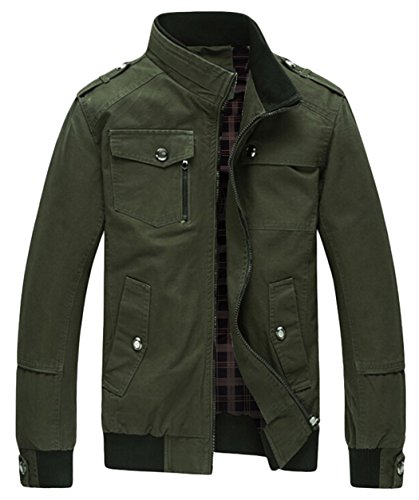 Wantdo Men's Cotton Stand Collar Windbreaker Jacket US Medium Army Green