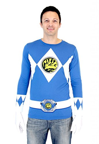 [Power Rangers Blue Ranger Long Sleeve T-Shirt & Gloves (Adult Medium)] (Power Ranger Samurai Costumes)