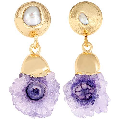 TUMBEELLUWA Druzy Dangle Earrings Freshwater Pearl Stud Gold Plated Drop Earring Stone Jewelry for Women,Purple