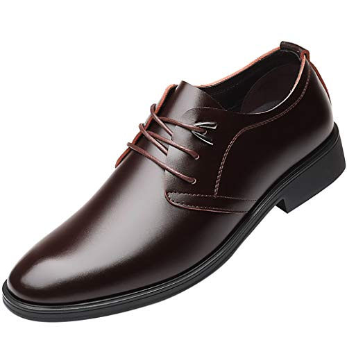 - Men Lace up Faux Leather Dress Shoes Modern Formal Wingtip Classic Business Style Faux Leather Shoes by Lowprofile Brown