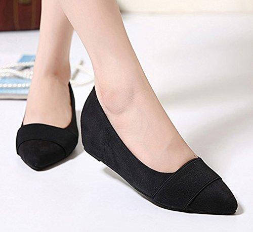 Sfnld Femmes Talon Compensé Bout Pointu Chaussures Basses Noires