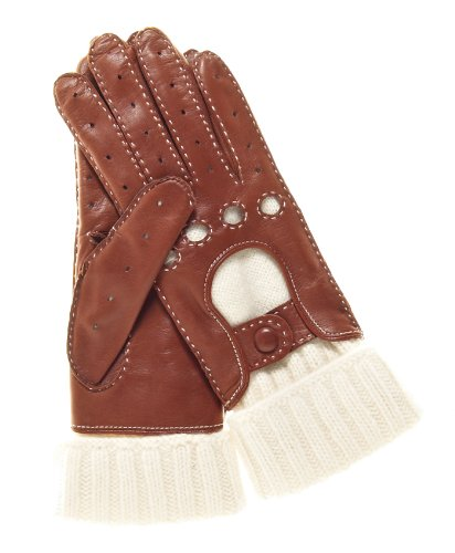 Fratelli Orsini Women's Winter Leather Driving Gloves with Cashmere Lining Size 8 Color Brown by Fratelli Orsini