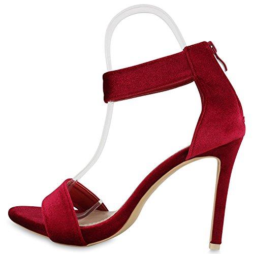 Stiefelparadies Elegante Damen Sandaletten Stiletto High Heels Samt-Optik Party Schuhe Riemchensandaletten Glitzer Metallic Brautschuhe Flandell Rot Samt