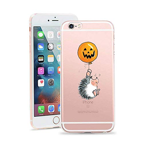 Painted Halloween Pumpkins Patterns (JICUIKE iPhone 6S Plus Case, Halloween Thriller Pumpkin Lantern Print TPU Transparent Clear Bumper Ultra Slim Translucent Gel Cover for iPhone 6 Plus 5.5 Inch [Little)