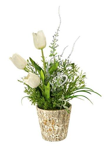 Dutch Flower Wholesale (D & W Silks White Dutch Tulips in Weathered Oak Look Cement Planter)