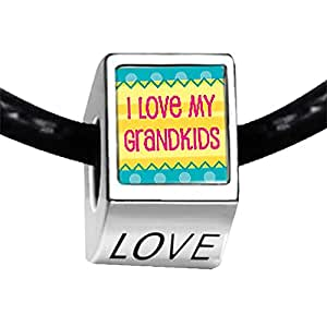 Chicforest Silver Plated I Love My Grandkids Photo LOVE Charm Beads Fits Pandora Charms