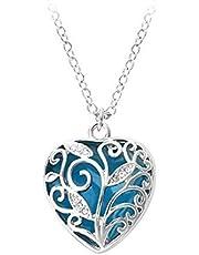 قلادة سحر أكوا شجرة زرقاء القلب يتوهج في الظلام