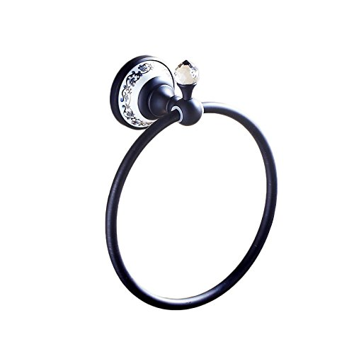 OWOFAN Towel Ring Bath Holder Towel Hanger Bathroom Storage Rack Wall Mount, Brass Oil Rubbed Bronze Black WF-6311R by OWOFAN