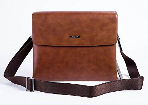 TIDIV Luxurious Men's Genuine Leather Crossbody Bag Mens Detachable Strap Briefcase Handbag by TIDIV