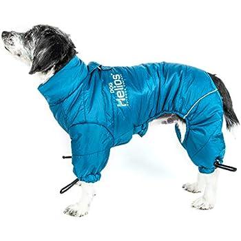 DOGHELIOS 'Thunder-Crackle' Full-Body Bodied Waded-Plush Adjustable and 3M Reflective Pet Dog Jacket Coat w/ Blackshark Technology, Large, Blue Wave