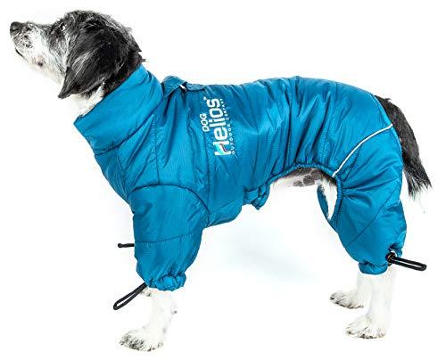 Dog Coat Plush - DOGHELIOS 'Thunder-Crackle' Full-Body Bodied Waded-Plush Adjustable and 3M Reflective Pet Dog Jacket Coat w/ Blackshark Technology, Medium, Blue Wave