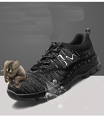 Deportivos Zapatos Seguridad Comodas Unisex Zapatillas Trabajo Antideslizante Unisex de Entrenador tone de ranspirables Mujer Zapatillas Ligeras Ali Puntera Hombre Acero S3 de Senderismo con Negro de nwq7AfYg