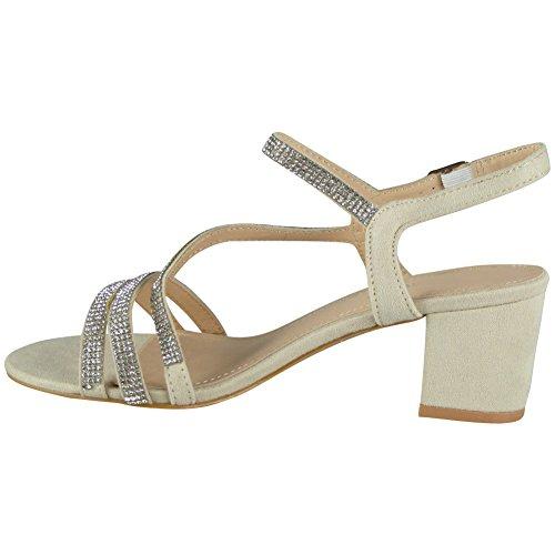 Loud Look Womens Diamante Sandals Heels Ladies Wedding Bridesmaid Bridal Party Shoes Size 3-8 Beige 9RFt4OD