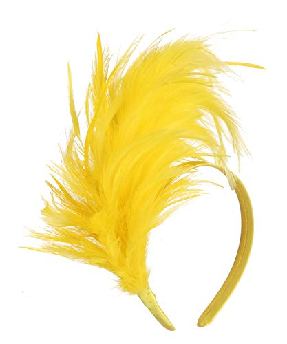Felizhouse 1920s Fascinator with Feathers Headband for Women Kentucky Derby Wedding Tea Party Headwear (Yellow) ()