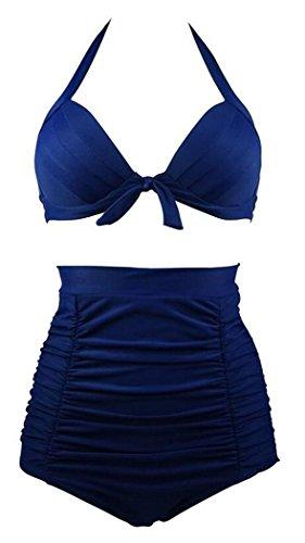Booty Gal Women's Bow Straps Swimsuit High Waist Bikini Retro Halter Swimwear(SIZE M/BLUE)