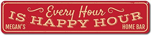 Novelty Metal Signs Personalized Happy Hour Home Bar Sign   Quality Aluminum Ensa1001363   4 X18  Quality Street Sign