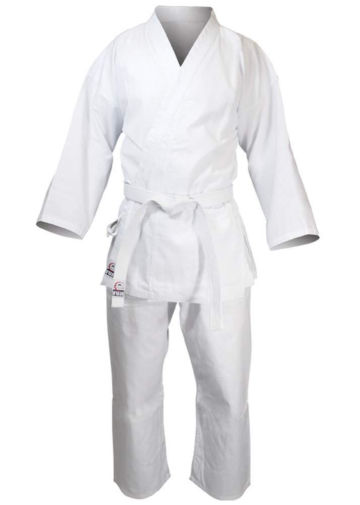Fuji Lightweight Karate Gi - 8oz Cotton Polyester Uniform w/Jacket, Pants & Belt