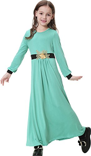 Ababalaya Muslim Islamic Girl's Soft O-Neck 3D Flower Applique Full Length Abaya Dress,Light Green,2XL Suitable for Height 4'11