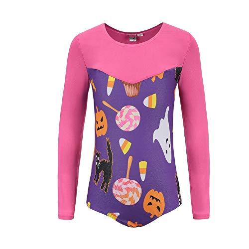 Wingbind Gymnastic Leotards for Girls, Halloween Pumpkin Printed Long Sleeve Funny Leotards for Little Girls Ballet Leotards Practice -