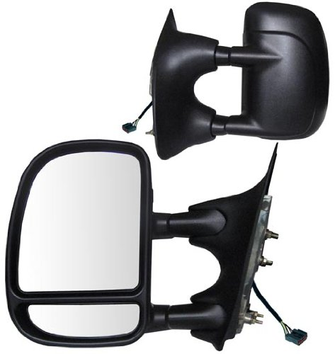 (Fit System 61095-96F Ford Excursion Driver/Passenger Side Replacement Power Heated Glass Manual Foldaway Towing Mirror Set with Dual Glass)