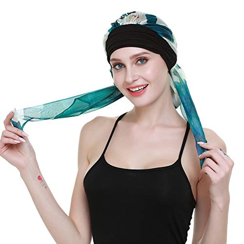 Luxury Womens Scarf Pre Tied Chemo Hat Beanie Sleep Turban Headwear for Cancer Emerald Black