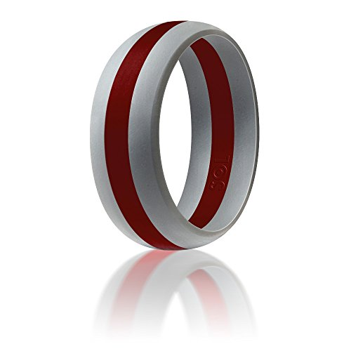Silicone Wedding Ring By SOL (Action Pro Series), Safe and Sturdy Silicone Rubber Wedding Band Designed for Fitness, Kettlebell and Exercise Bands Workout - Light Grey with Red, size 9