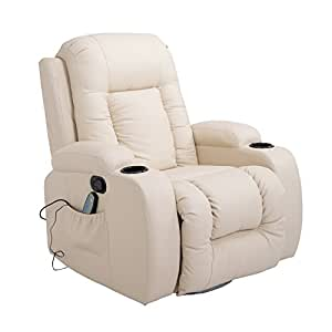Homcom PU Leather Heated Vibrating Massage Swivel Recliner Arm Chair with Remote - Cream