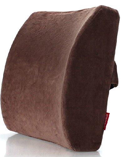 Moyishi Coffee Brown Memory Foam Seat Chair Lumbar Cushion Pillow Back Support Pad For Car Sedan Office Home (Pillow Sacral Lumbar Support)