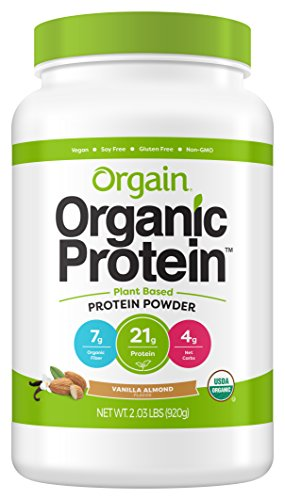 Orgain Organic Plant Based Protein Powder, Vanilla Almond – Vegan, Low Net Carbs, Non Dairy, Gluten Free, Lactose Free, No Sugar Added, Soy Free, Kosher, Non-GMO, 2.03 Pound