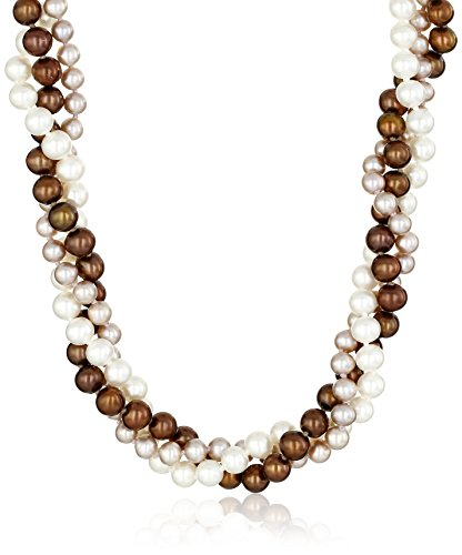 14k Yellow Gold 5-6.5mm Twisted 3-rows Multi-Colors Freshwater Cultured Pearl Strand, 18