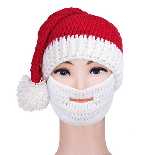 Vbiger Beard Hat Winter Warm Beanie Hat Winter Warm Knit Hat Windproof Funny Christmas Santa Hat for Men & Women