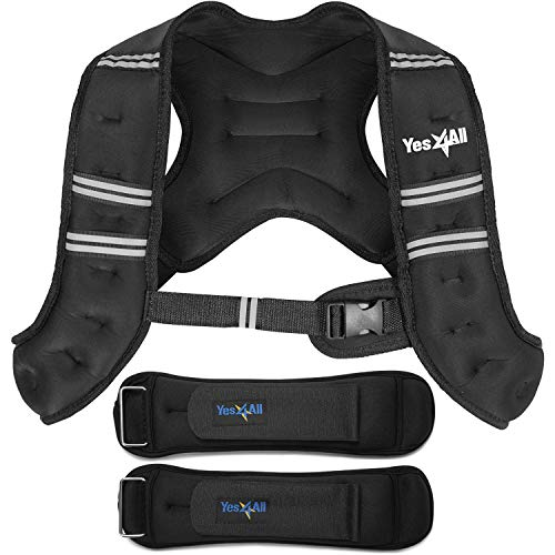 Yes4All 12lb Workout Weighted Vest & 2lb Ankle Weights - Exercise Weighted Vest for Strength Training, Running, Weight Loss & Weightlifting