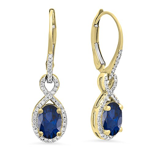 10K 7X5 MM Each Oval Lab Created Blue Sapphire & Round Diamond Dangling Drop Earrings, Yellow -