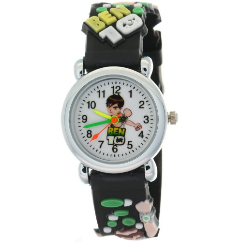 TimerMall Fashion Round Dial Case Black Strap Japan Quartz Cartoon Watches Stylish BEN 10 Doll (Round Plate Scale Dial)