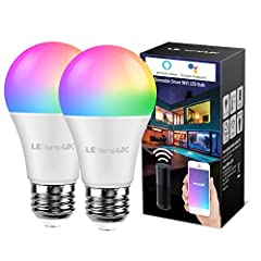 LE Lampux WiFi Smart Light Bulb, RGBW Multicolor and Soft Warm White 2700K, Compatible with Alexa, Google Assistant, Timer, Sunrise Sunset, Dimmable A19 E26 LED Bulb, No Hub Required, Pack of 2