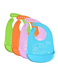 INCHANT Waterproof Silicone Baby Bibs - Roll Up Infant Bib with Food Crumb Catcher Pocket, Easy Wipes Clean & Quick Drying - Soft & Comfortable for Your Toddler, Set of 4 Colors