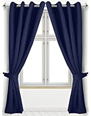 Blackout Thermal Insulated Room Darkening Grommet Curtains Window Panel Drapes - Set of 2 - 8 Grommets/Rings per Panel- 2 Tie Back Included- by Utopia Bedding
