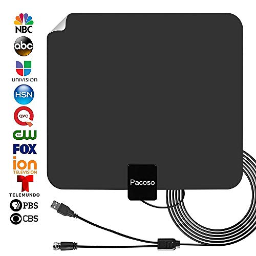 [2019] Indoor Amplified HD Digital TV Antenna 50-65 Miles Range - Support 4K 1080p & All TV's for Indoor with HDTV Amplifier Signal Booster/Longer Coax Cable