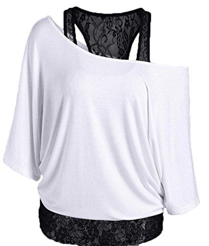 LemonGirl Mujeres de encaje fuera de hombro camisas Blusa Tops White