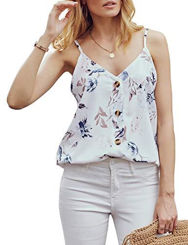 (LEANI Women's Floral Print Button Down V Neck Strappy Tank Top Loose Sleeveless Shirts Blouses White)