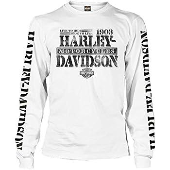 "Harley-Davidson Men/'s White Long sleeve pocket /""up shield/"" Large shirt"