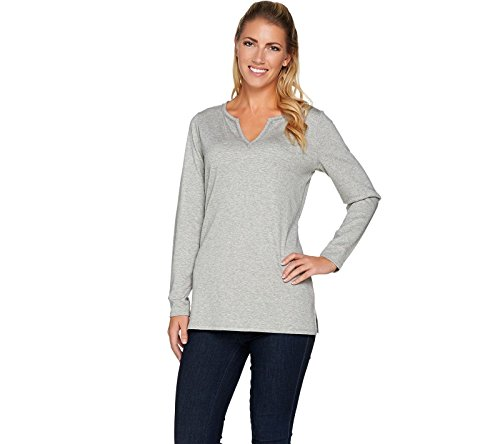 C. Wonder Essentials Pima Cotton Split V-Neck Tunic A282716, Heather Grey, 3X (Pima Tunic Cotton)