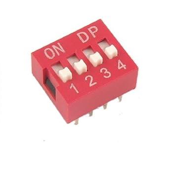 eDealMax 10 piezas DE 2,54 mm de paso 4 posición de deslizamiento Estilo Dip