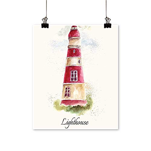 "Canvas Wall Art for Bedroom Home Lighthouse Pastel Faded V Tage Letter W dows Grass Clouds Canvas Art Posters Prints,20"" W x 32"" L/1pc(Frameless)"