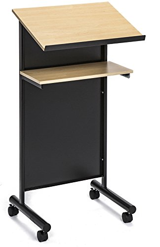 Lectern Stand Speaker (Wheeled Lectern with Storage Shelf - Beech/Black - Compact Standing Desk for Reading - LapTop Stand)