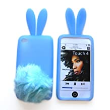 Bunny Skin Case With Furry Tail for Apple iPod Touch 4th Generation, Baby Blue