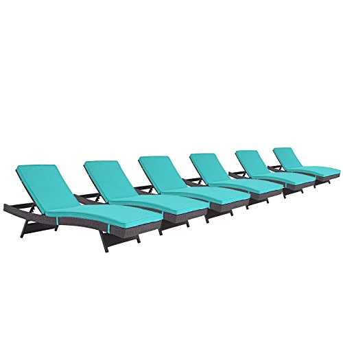 Modway Convene Wicker Rattan Outdoor Patio Chaise Lounge Chairs in Espresso Turquoise - Set of 6