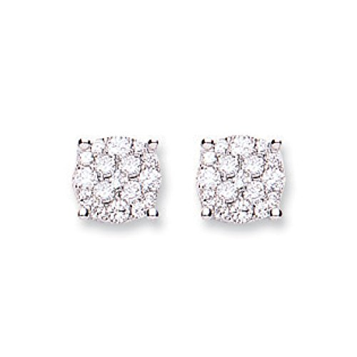 Jareeya-Cluster Diamant Boucles d'oreille à tige, 0,50CT Diamant, Or blanc 18ct